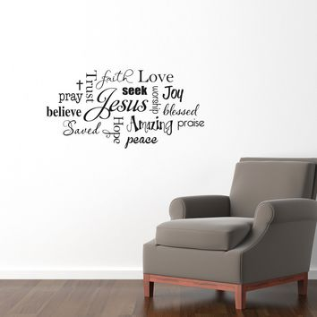 Christian Wall Decal - Jesus Subway Wall Art Sticker - Praise Believe Trust - Medium