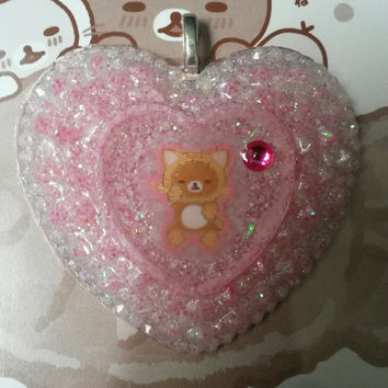 Rilakkuma Cat Heart Resin Pendant & Necklace Sale