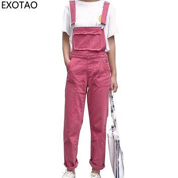 EXOTAO Rose Red Jeans for Women Casual Denim Jumpsuits Female Boyfriends Overalls High Waist Pantalon Femme 2017 New Jean Pants