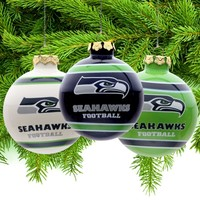 Seattle Seahawks Three-Pack Glass Ball Ornament Set