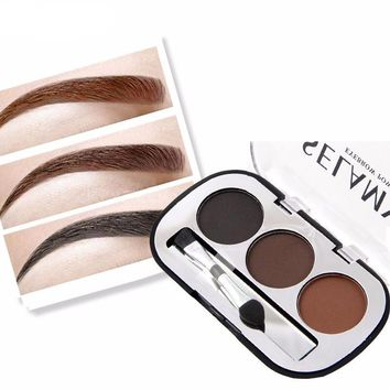 3 Colors Waterproof Pigments Eyebrow Tattoo Powder Palette with Brush