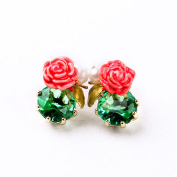 Green and Red Flower Earrings