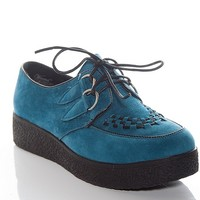 Wanted Campaign Platform Faux Suede Lace Up Creepers - Blue