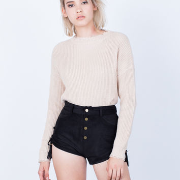 Own it Side Tied Suede Shorts