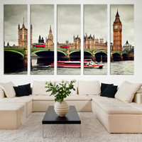 Extra Large London Wall Art Gift / London Fine Art Photo Canvas Wall Decor Gift for Home / Tower Bridge Big Ben Red Bus Wall Art Decor