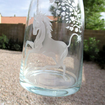 Vintage Unicorn Wine Glass Glasses and Carafe Etched Glassware Set of 4 with Decanter