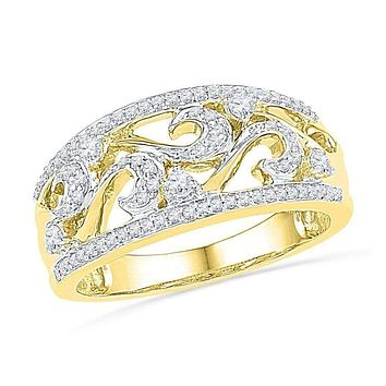 10kt Yellow Gold Women's Round Diamond Filigree Band Ring 1/3 Cttw - FREE Shipping (US/CAN)