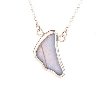 Silver butterfly necklace  - Iridescent Blue Wing Shaped Morpho Didius