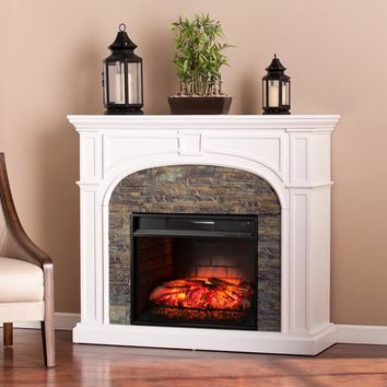 Harper Blvd Kelley White Stacked Stone Effect Infrared Electric Fireplace | Overstock.com Shopping - The Best Deals on Indoor Fireplaces