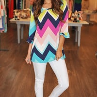 COLORFUL RUFFLE SLEEVE TUNIC
