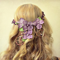 Rapunzel - cascading romantic flower crown in lavender, fit for a princess