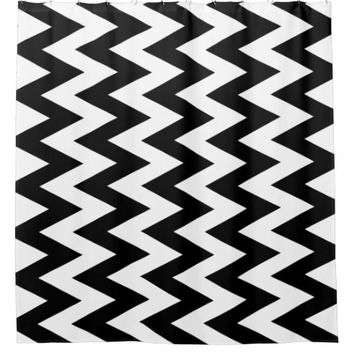Black and White Vertical ZigZag Shower Curtain