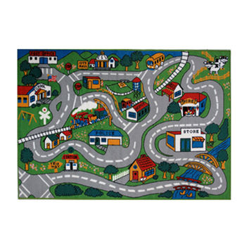 Fun Rugs Fun Time Collection Home Kids Room Decorative Floor Area Rug Country Fun -5'3X7'6