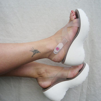 MELISSA Clear plastic chunky heel platform chunky shoes summer sandals white flip flops womens thongs size 7