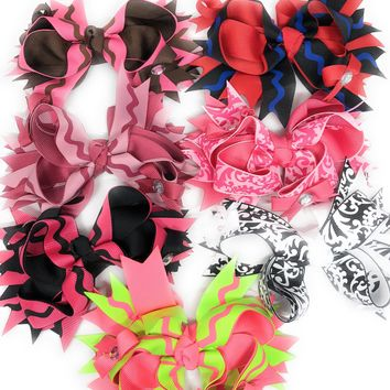 Girls Dainty Triple Bow Bling Hair Bow