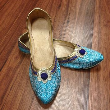Sky Blue Rajasthani Juti with Border and Embroidery