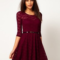 ASOS Skater Dress In Lace With 3/4 Sleeve at asos.com
