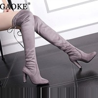 Women's Suede Thigh High Boots Over the Knee Boots Stretch Sexy Botas Overknee High Heels Shoes Black Gray Wine Red for Women