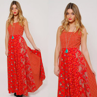 Vintage 70s PATCHWORK Maxi Dress Red PAISLEY Dress Printed Hippie Dress Sleeveless FESTIVAL Dress