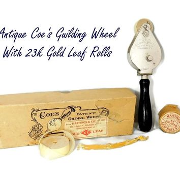 Antique Coe's Gilding Wheel Tool PLUS 4 Rolls of 24k Gold Leaf Gild