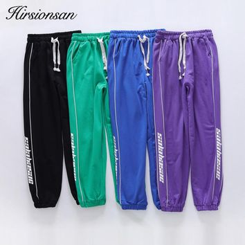 Hirsionsan High Waist Pants Women Loose Joggers Letters Printed Quick-dry Pants Sportswear Punk Black Cargo Pants Women Trousers