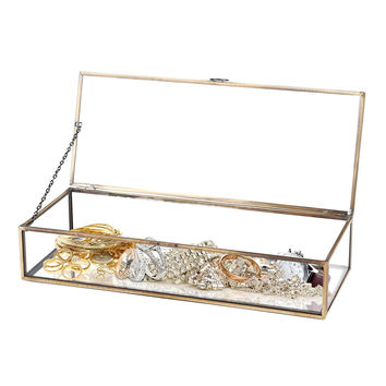 Vintage Style Brass Metal & Clear Glass Mirrored Shadow Box Jewelry Display C...