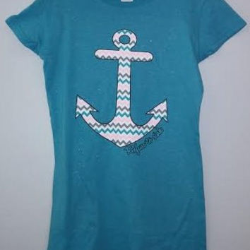 Ladies Glitter T-Shirt - Refuse To Sing Anchor Chevron Print