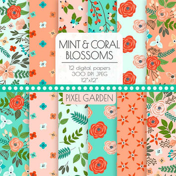 80% OFF SALE. Mint & Peach Floral Digital Paper. Peony, Rose Blossom Teal, Coral, Turquoise, Mint Cottage Chic Patterns Flower Background.
