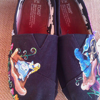 Alice in Wonderland hand painted TOMS