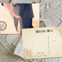 "50 Wedding Thank You Cards - Brest Vintage Floral Photo Personalized 4""x6"""