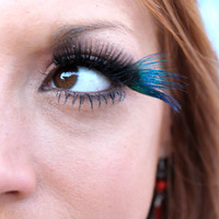 Blue Peacock Feather False Eyelashes