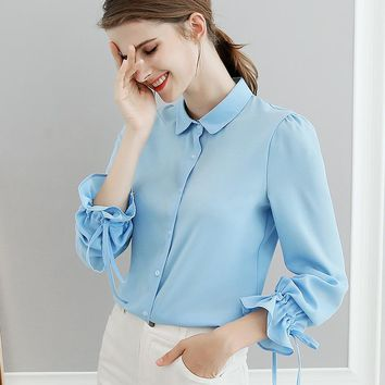 Ruffle Sleeved Women Blouse New Summer Slim Solid Turn-down Collar Chiffon Work Shirts For Women Office Lady Tops
