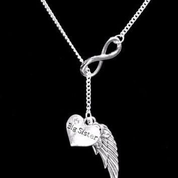 Guardian Angel Big Sister Wing In Memory Heaven Infinity Y Lariat Necklace
