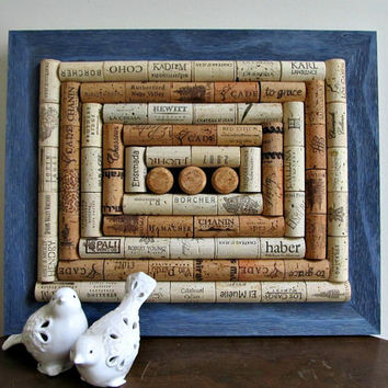 Rustic Denim Blue Wine Cork Board / Corkboard - Rustic, Shabby Cottage Chic, Country Decor, Beach Decor