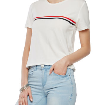 Striped Ribbon Trim Tee