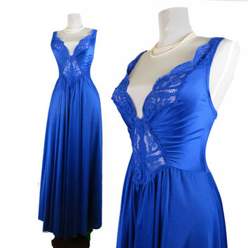 Vintage OLGA / Vandemere nightgown in Royal Blue size Medium