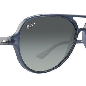 Ray Ban Cats 5000 Sunglasses RB4125 630371 Blue Frame W/ Grey Gradient Lens