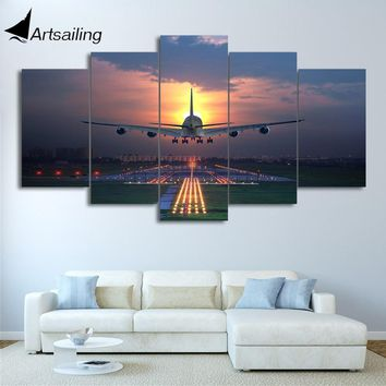 HD Printed 5 Pieces Canvas Art Painting Sunset Airplane Lawn airport Poster Wall Pictures home decoration CU-2856C
