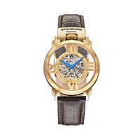 Stuhrling Original Men's Legacy Leather Automatic Skeleton Watch
