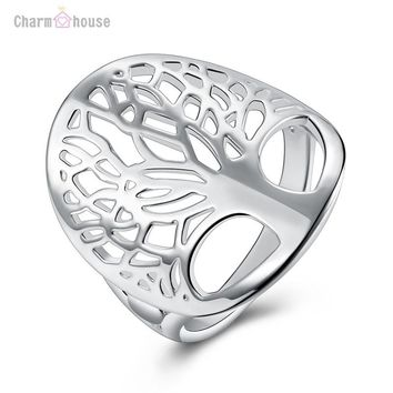 Silver Rings for Women Fashion 925 Jewelry Totem Tree of Life Ring for Women Wedding Engagement Ring Accessories Bague Size 6-9#