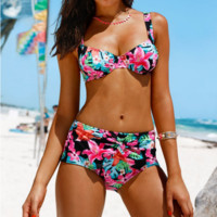 High Waist Floral Print Bikini Swimsuit B0014202