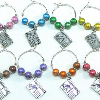 Travel Wine Charms- 8 Postcard Wine Glass Charms, Blue and Purple Sea Glass Beads, Nautical Charms, Compass, Lighthouse, Ship