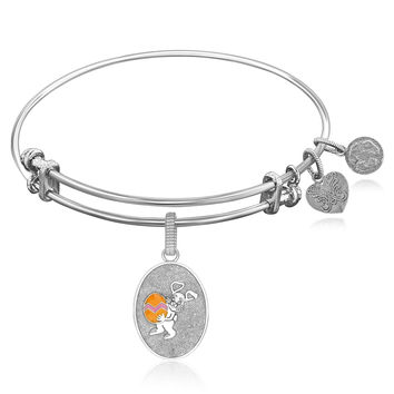 Expandable Bangle in White Tone Brass with Easter Bunny Symbol