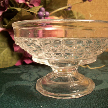 Ornate Pressed Glass Parfait Sherbet Ice Cream  Pedestal Dish Berry Bowl  Dresser Top Trinket Dish,