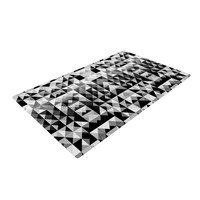 "Nika Martinez ""Geometrie Black & White"" Gray Woven Area Rug"