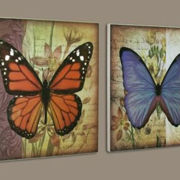 Butterfly Wood Wall Art (Set of 2) (8567) - Illuminada