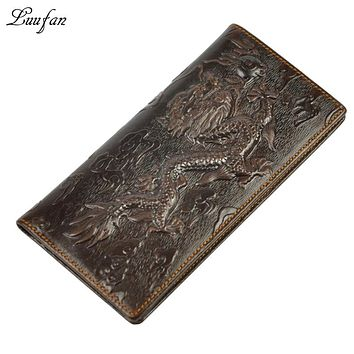 Men's genuine leather dragon wallet embossed real Leather bifold long wallet with Zipper Pocket and phone pocket fashion purse