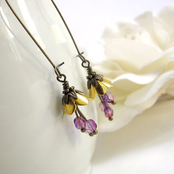 Vintage inspired Gold Bell Flower. Floral Earrings with Purple fire polished czech glass beads. Nickel free Lead free antiqued brass Earwire
