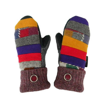 Patchwork Wool Recycled Mittens Women's Handmade in Wisconsin Purple Red Blue Gray Mustard Stripes Fleece Lined Sweaty Mitts Gift for Her