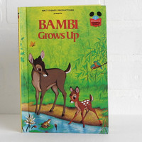 Vintage 70s Disney Childrens Book, Bambi Grows Up Kids Book, Deer Nursery